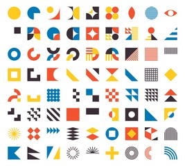 Bauhaus elements. Modern geometric abstract shapes in minimal style. Brutalism basic forms, lines, eye, circles and patterns, art vector set