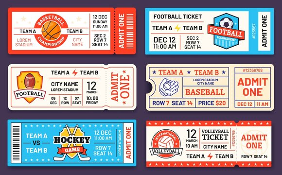 Sport tickets. Baseball, american football, soccer, hockey and basketball game ticket templates. Match invite coupons with logo vector set