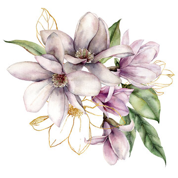 Watercolor floral bouquet of linear magnolias, gold leaves and buds. Hand painted flowers isolated on white background. Holiday spring illustration for design, print, fabric or background.