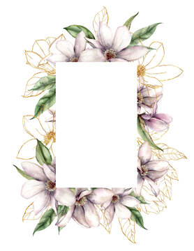 Watercolor magnolias frame of gold flowers and linear leaves. Hand painted floral border of plants isolated on white background. Spring illustration for design, print, fabric or background.