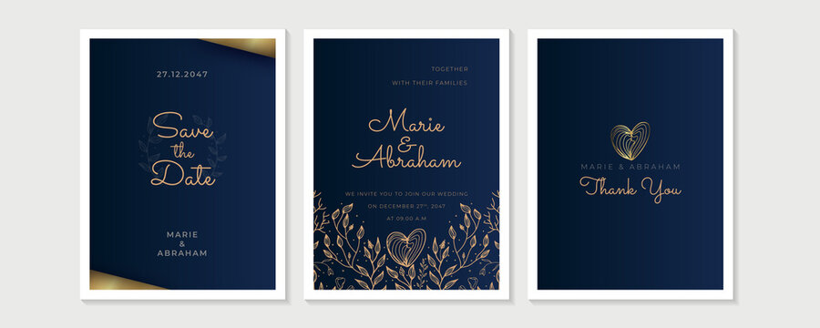 Design wedding invitation template set. Abstract texture elements and golden frames on a black background are hand-drawn with floral and leaf element design