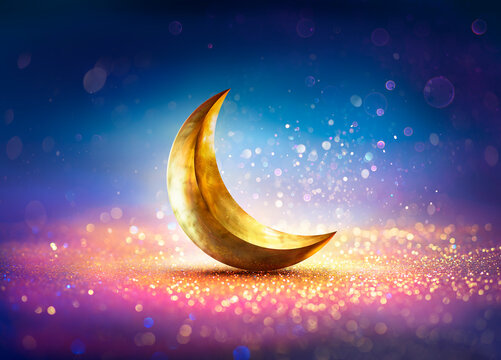 Ramadan Kareem - Moon On Shiny Glitter With Abstract Defocused Lights