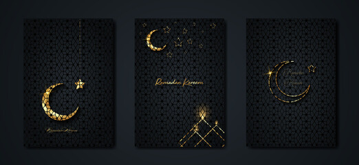 Wall Murals Ramadan Kareem 2021 vector set greeting card. Gold half moon on black background. Golden holiday poster with text, islamic symbol. Concept Muslim religion banner, flyer, party invitation, sale shop