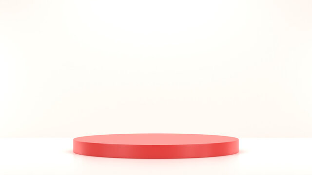 Minimal podium realistic mockup display cosmetic product presentation round empty cylinder red stage in light background 3D render illustration