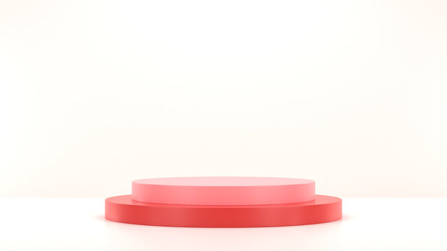 podium, minimal, realistic, empty, mockup, display, cosmetic, blank, red, 3d, clean, product, presentation, object, circle, plastic, round, blue, stage, background, 3d render, abstract, award, illustr