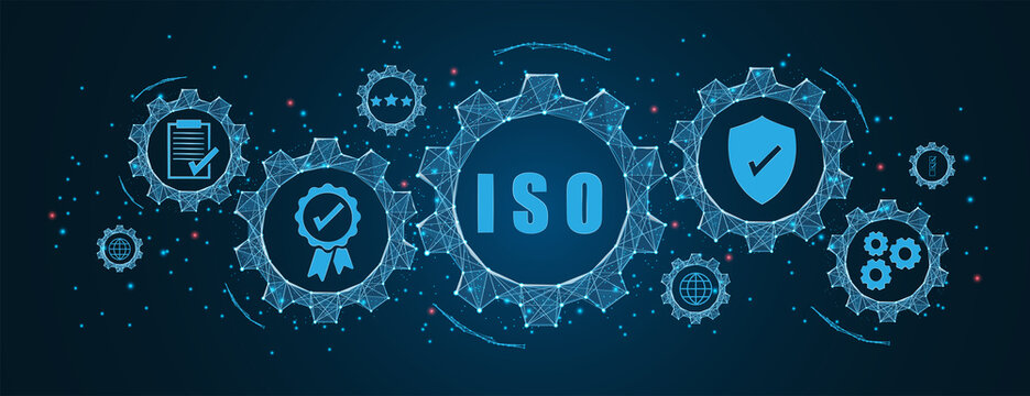 Abstract ISO standards quality control concept, assurance warranty in dark background. Cogs and gear wheel mechanisms concept. wireframe low polygonal blue mesh with dots, lines, and shapes.