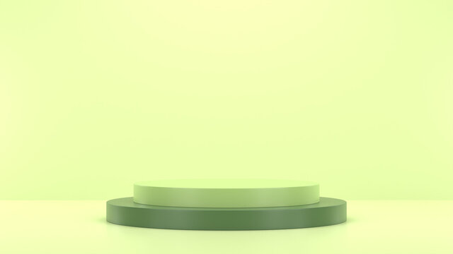 Minimal podium realistic mockup display cosmetic product presentation round empty cylinder stage in soft green background 3D render illustration