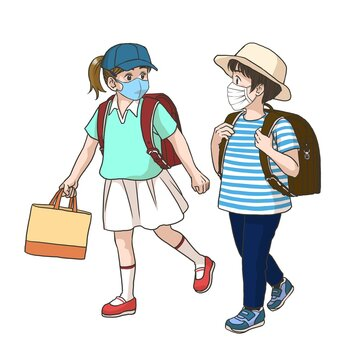 2 girls wearing masks on the way to their elementary school (Summer)