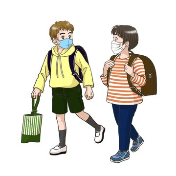 2 boys wearing masks on the way to their elementary school