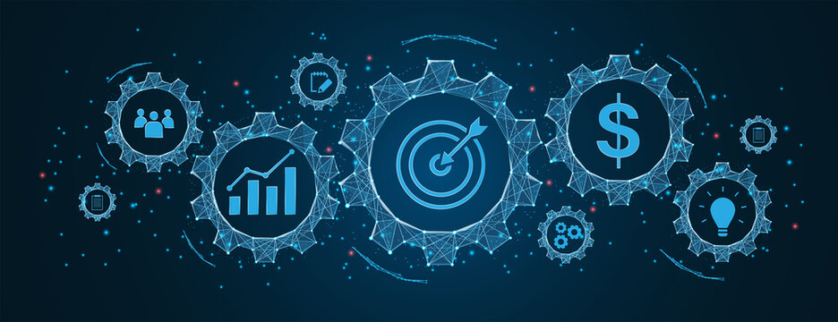 success and business target concept, project management, company strategy development in Cogs and gear wheel mechanisms concept. wireframe low polygonal blue mesh with dots, lines, and shapes.