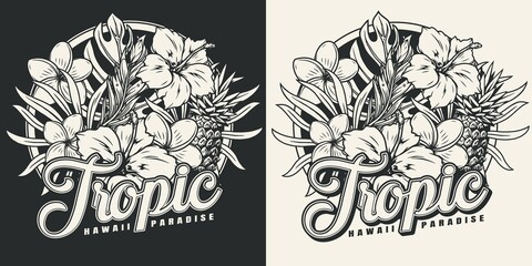 Vintage monochrome tropical emblem - fototapety na wymiar