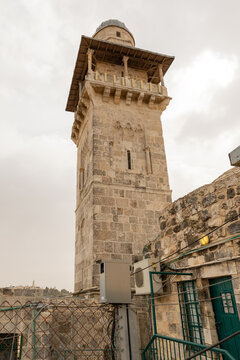 The Bab al-Silsila  minaret and the inner schoolyard of the Madrasah are on the Temple Mount in the Old Town of Jerusalem in Israel