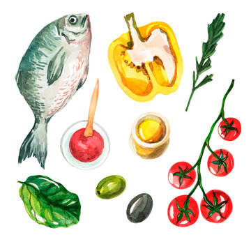 Watercolor set with Mediterranean cuisine on a white background. Fresh fish, yellow bell peppers, cherry tomatoes, olive oil, tomato sauce, olives and spinach. Isolated food. Handmade watercolor.