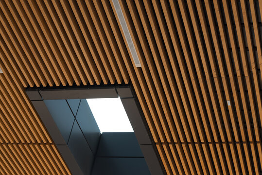 timber or wood slat ceiling detail with skylight window