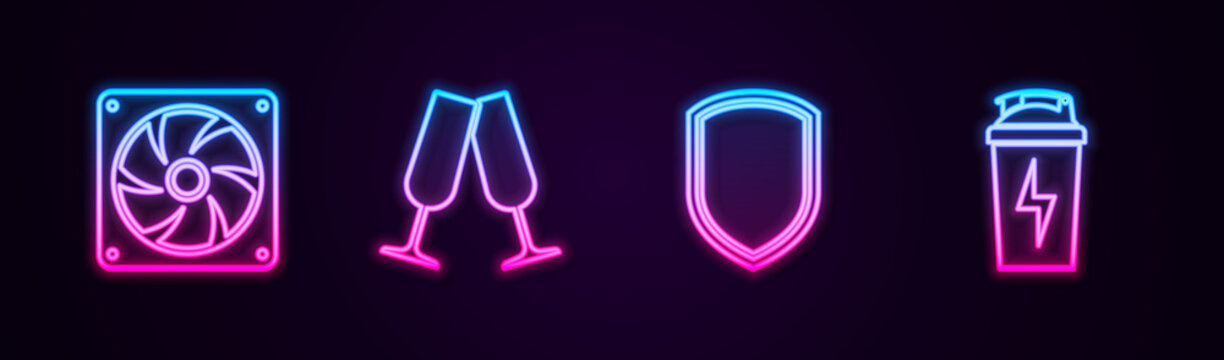 Set line Computer cooler, Glasses of champagne, Shield and Fitness shaker. Glowing neon icon. Vector