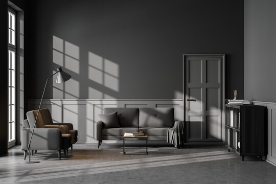 Grey living room interior with armchair and sofa on concrete floor, mockup