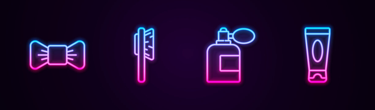 Set line Bow tie, Hairbrush, Aftershave bottle with atomizer and Cream or lotion cosmetic tube. Glowing neon icon. Vector