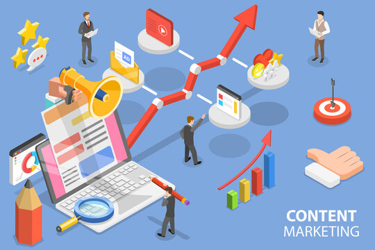 3D Isometric Flat Vector Conceptual Illustration of Content Based Marketing.