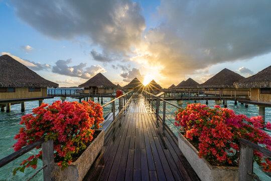 Sunset at a luxury beach resort on Bora Bora, French Polynesia