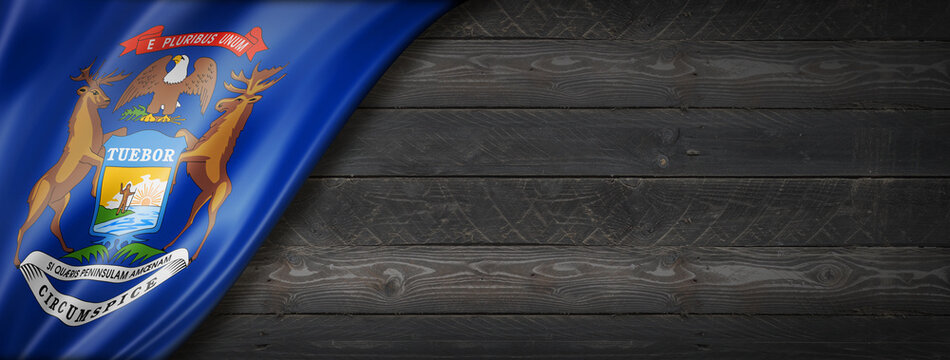 Michigan flag on black wood wall banner, USA