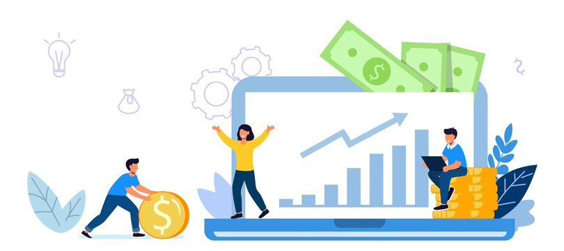 Invest in best idea Investment and analysis money cash profits metaphor Flat design tiny people and business concept for trading Economical wealth revenue visualized as pile of cash vector illustratio