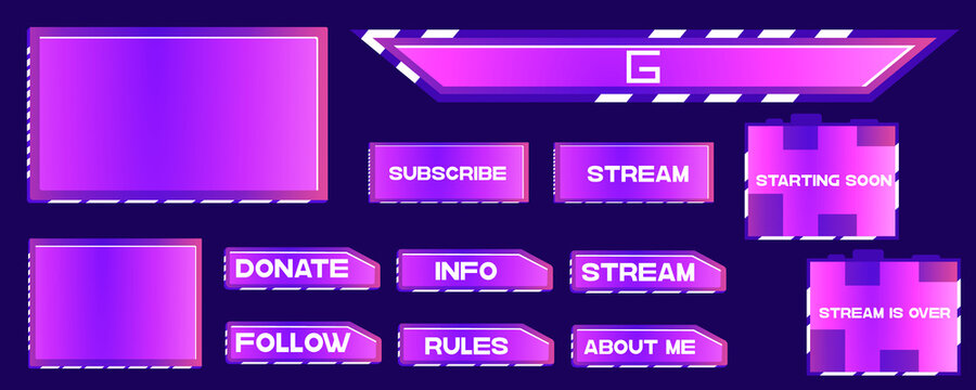 Overlay the game on a dark background. Modern Vector banner design. Template design. Buttons, frames for streaming and donating. Overlay game communicating with subscribers
