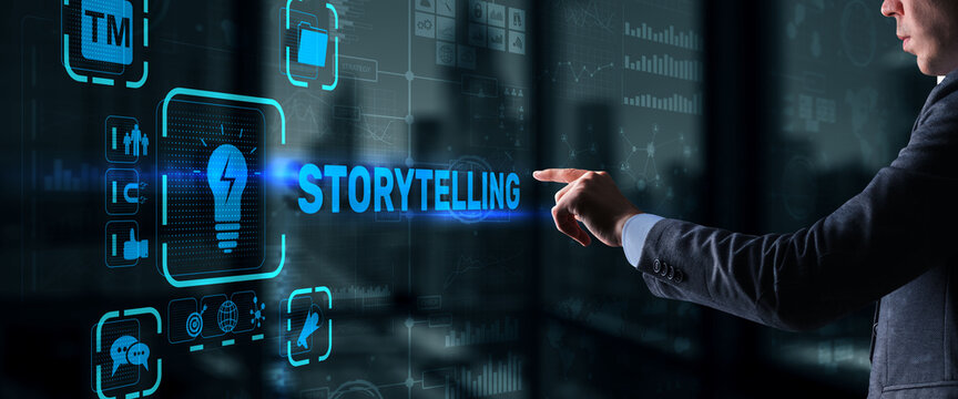Storytelling. Story Telling Education and literature Business concept. Ability to tell stories