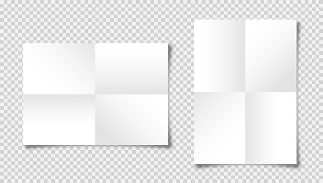 Realistic blank folded paper sheets in A4 size with shadow on checkered background. White notebook page. Design template, mockup. Vector illustration.