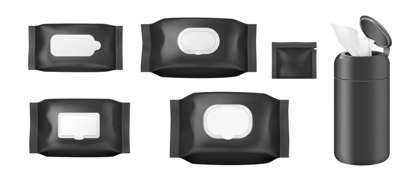Realistic cosmetic wet wipe pack mockup set with open and closed flap from top and side view