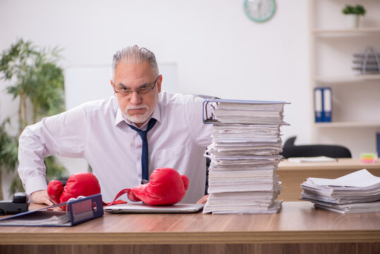 Old businessman employee wearing boxing gloves at workplace