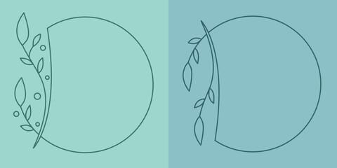 Obraz Szablony ramek z wzorem roślinnym w prostym nowoczesnym stylu z listkami - zaproszenia ślubne, tło dla social media stories. - fototapety do salonu
