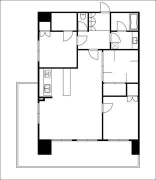 マンションの間取り図の図面のイラスト3LDK+WIC ウォークインクローゼット マイホーム見取り図モノクロ白黒