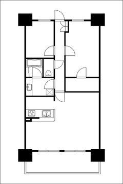マンションの間取り図の図面のイラスト2LDK+DIN マイホーム見取り図モノクロ白黒
