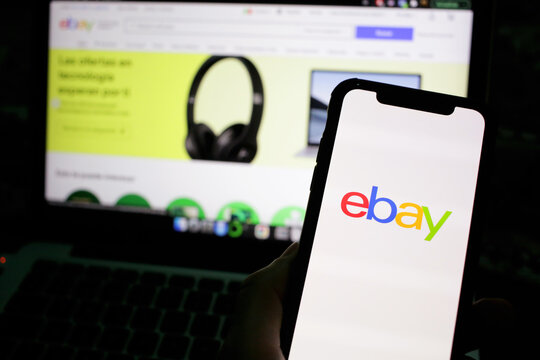 Online shopping at EBAY the largest online sales website - Mexico city, Mexico - April, 2021
