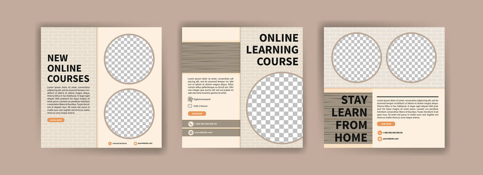 Digital learning. Online courses and classes. Social media post templates for digital marketing and promotion. Advertisements for webinars. Keep studying even at home.