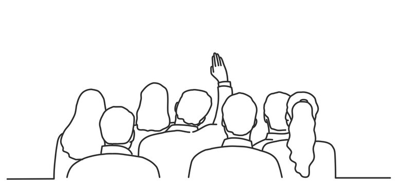 Man raises his hand to ask a question. Back view.