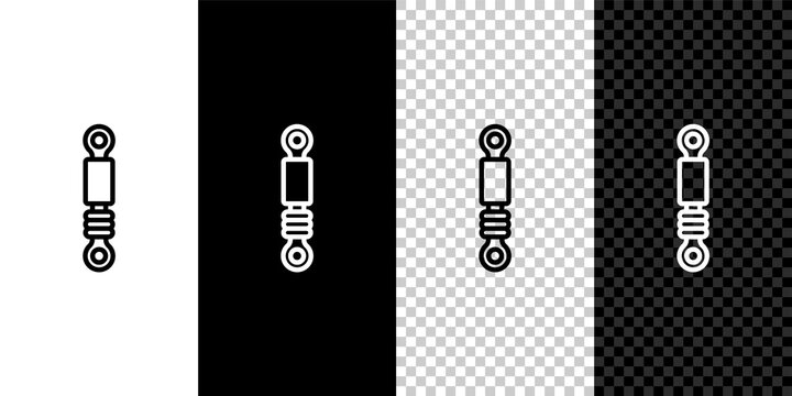 Set line Shock absorber icon isolated on black and white,transparent background. Vector