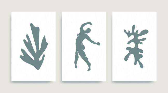 Contemporary Henri Matisse abstract vector poster. Woman nude figure dancing silhouette line art Matisse painting. Pastel reproduction of painting. Geometric shape collage.