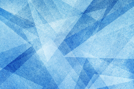 modern abstract blue background design with layers of textured white transparent material in triangle shapes in random geometric pattern