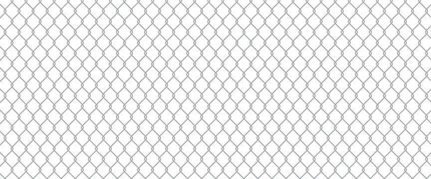Сhain link fence. Wire mesh steel metal. Prison barrier, secured property realistic construction