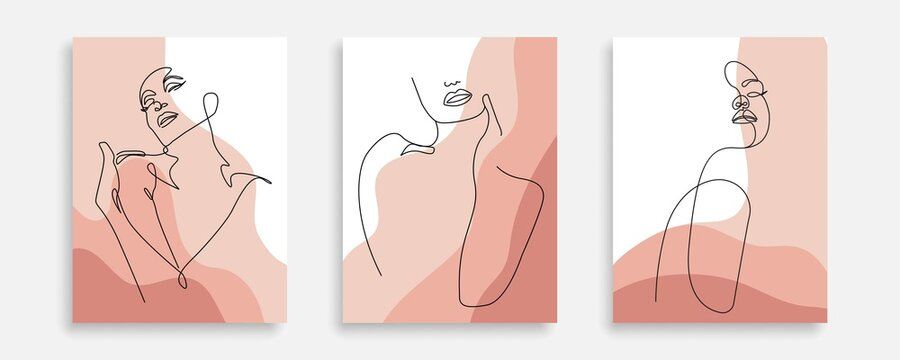 Vector Prints Set of Woman Body Line Art Style. Female Figure Poster. Modern Wall Art, Aesthetic Design. Perfect for Home Decor, Wall Art Posters, or t-shirt Print, Mobile Case. Vector EPS 10