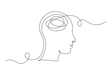 Continuous one line drawing of a person with confused feelings worried about bad mental health. Problems, failure and grief concept. Lineart Vector illustration