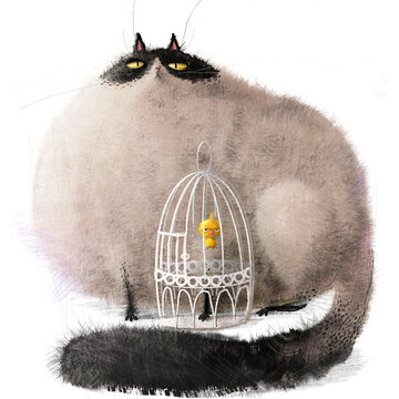cute lovely cartoon characters: cat and bird