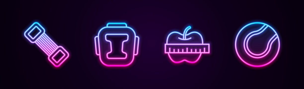 Set line Chest expander, Boxing helmet, Apple measuring tape and Tennis ball. Glowing neon icon. Vector