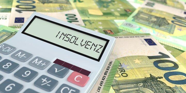 Taschenrechner Insolvenz Euroscheine Geld