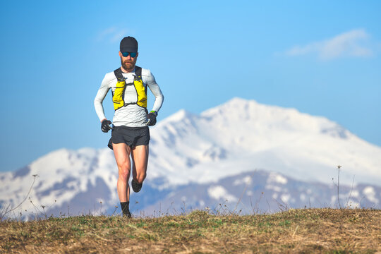 Long distance runner in the high mountains
