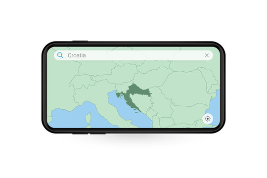 Searching map of Croatia in Smartphone map application. Map of Croatia in Cell Phone.