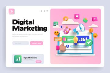 Flat Modern design Illustration of Digital Marketing - Landing page design