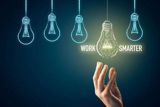 Work smarter concept with light bulb