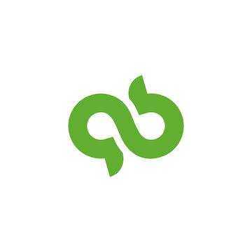 green infinity natural symbol abstract logo vector